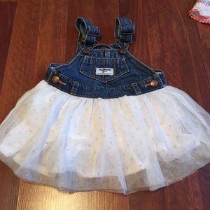 Overall dress denim and white skirt